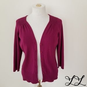 Ann Taylor LOFT Cardigan Sweater Purple 3/4 Sleeve
